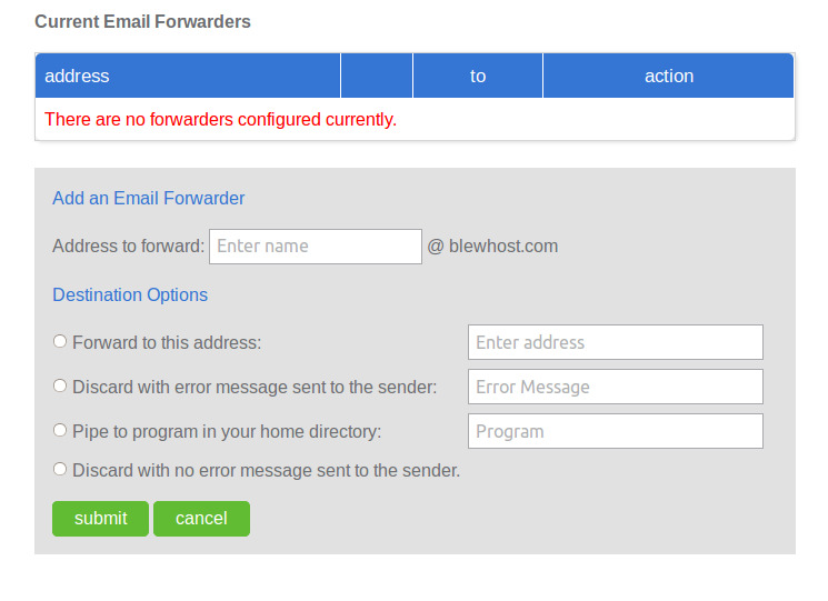 bluehost email forwarding