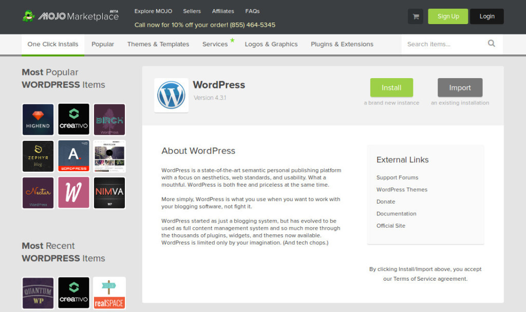 Bluehost Blog Install WP Mojo